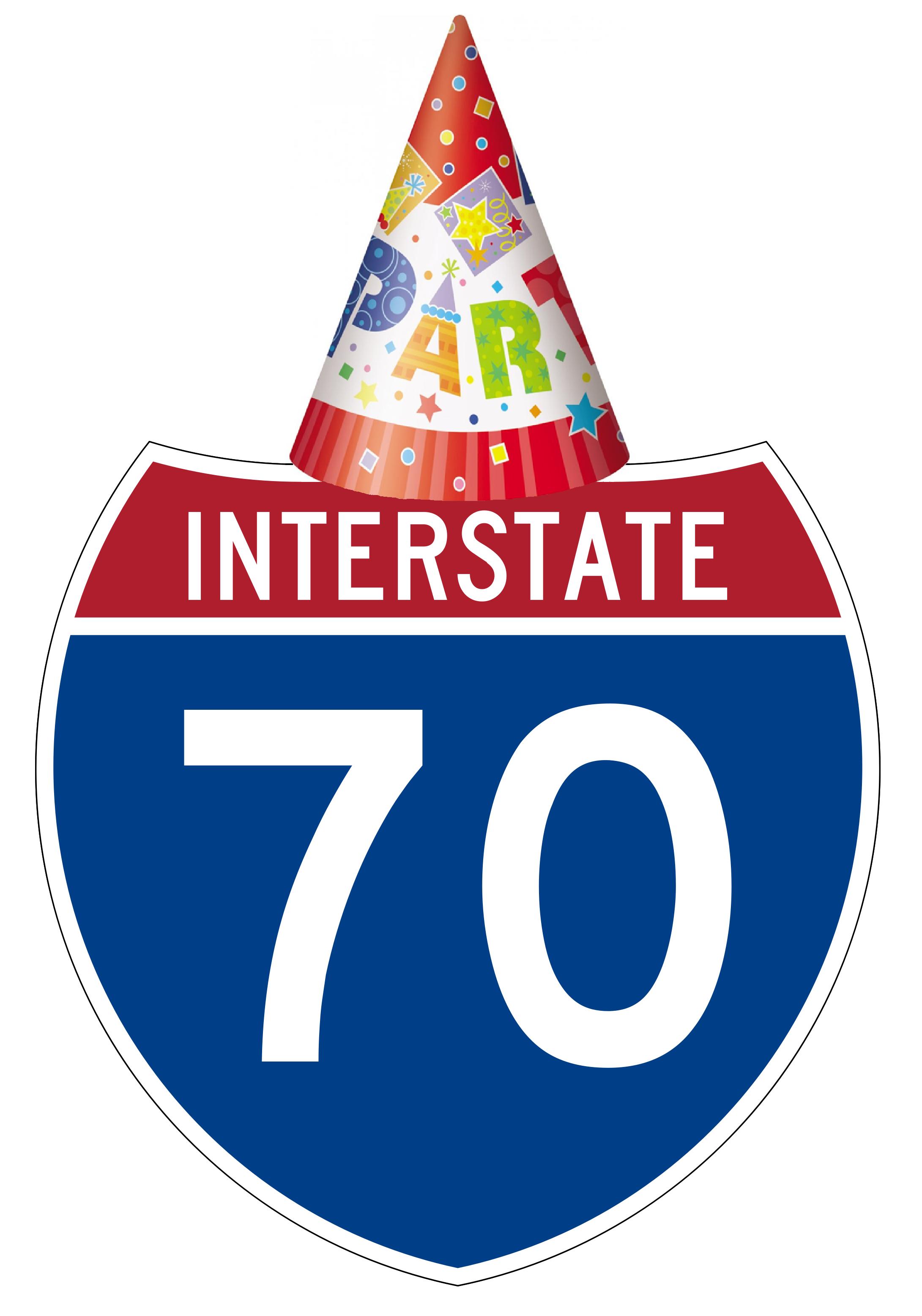 interstate 70 wearing birthday hat
