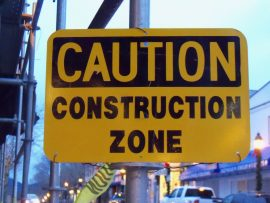 caution construction zone sign